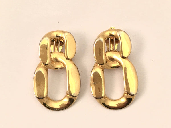 gold chain link clip on earrings 80s jewelry