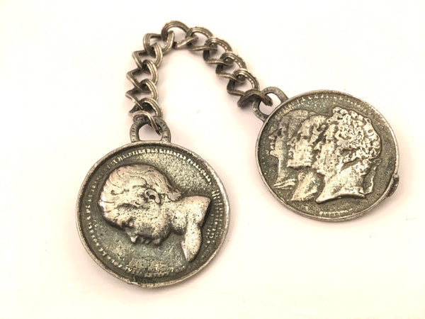 Duette Pin Brooch Roman Old European Faces Silver Coins Vintage Jewelry