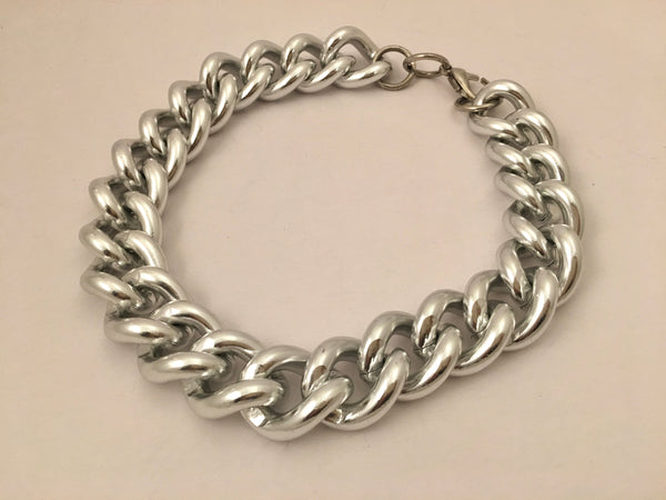 Silver Curb Chain Link Chains Necklace Vintage Jewelry