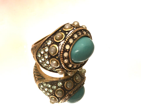 heidi daus jewelry turquoise pearls ring