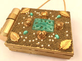 Vintage Double Compact Purse with Lipstick Pearls Jade Accessory