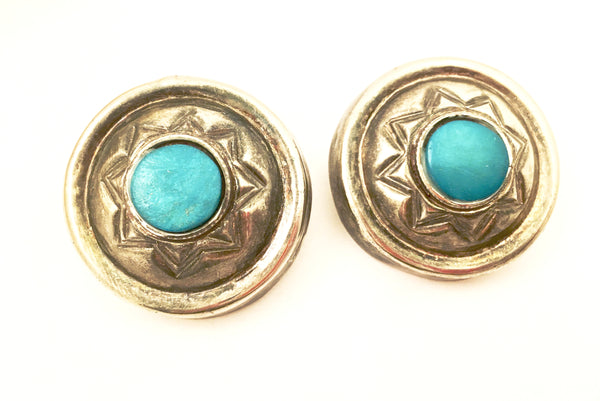 Bold Ethnic Silver Turquoise Blue Vintage Earrings Made in India