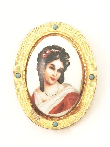 Hattie Carnegie Vintage Jewelry French Limoges Portrait Brooch Pin