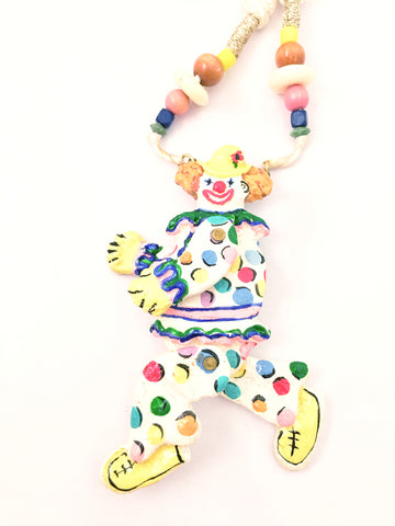 dorian designs necklace circus clown hand-painted 1990