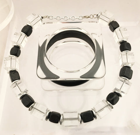 Lucite Deco Style Bijoux Set Necklace and Bangles Costume Jewelry