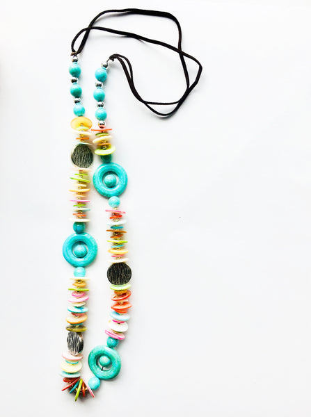 Colorful Shells Beaded Long Necklace Costume Jewelry