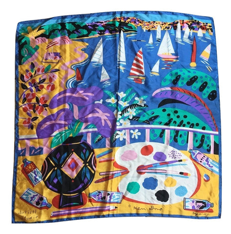 Artist's Studio Hand Painted Silk Scarf by Ken Done