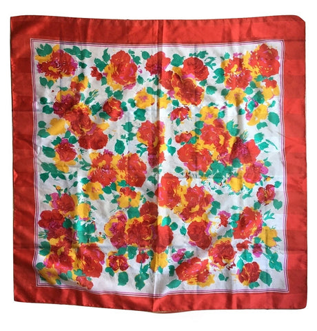 Bold Floral Italian Scarf Vintage Accessories