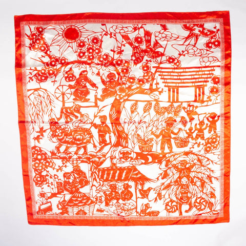 Asian Scene Scarf Vintage Accessories