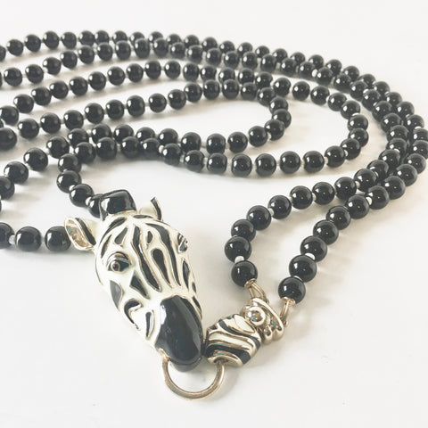 Wild Animal Print Zebra Beaded Necklace Vintage Jewelry