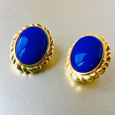 Monet Royal Blue Clip on Earrings Vintage Jewelry