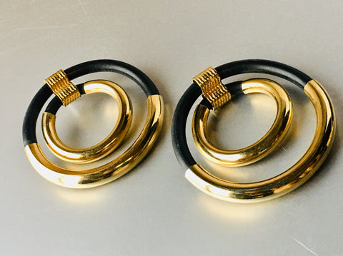Golden Black Hoop Earrings Big Bold 80s Vintage Jewelry