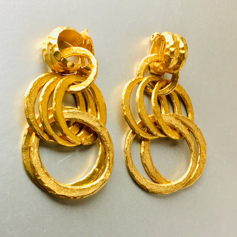 Golden Brushed Hammered Hoops Dangling Clip on Earrings Vintage Jewelry