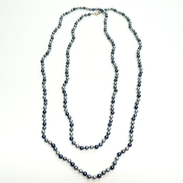 Long Beaded Gray Pearls Necklace Vintage Jewelry