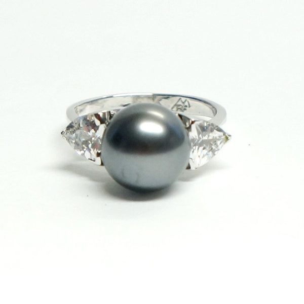 Bold Gray Metallic Pearl Cocktail Ring Costume Jewelry