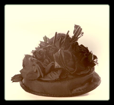 Gus Mayer Don Marshall Garden Toque Hat Antique Millinery Toque Black Green Tulip True Vintage Accessory