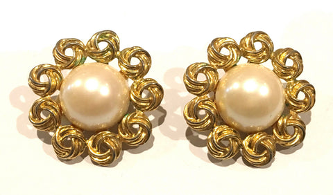 Marvella Pearls Clip on Earrings Bold Golden Statement Vintage Designer Jewelry