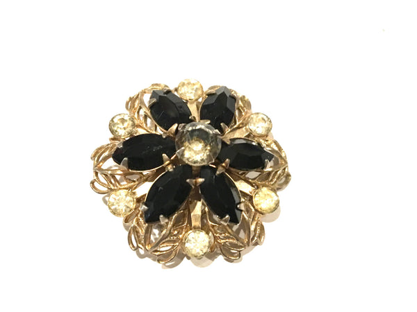 Floral Vintage Jewelry Black Silver Filigree Pin Brooch