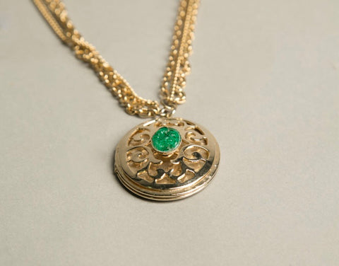 Jade Green Locket Golden Chain Necklace Vintage Jewelry