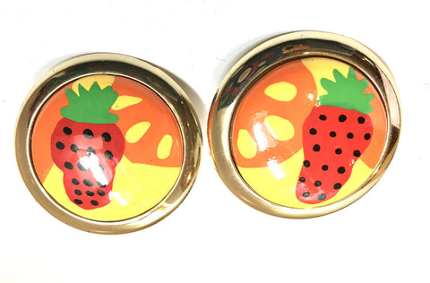 Fruit Salad Clip on Earrings Vintage Jewelry