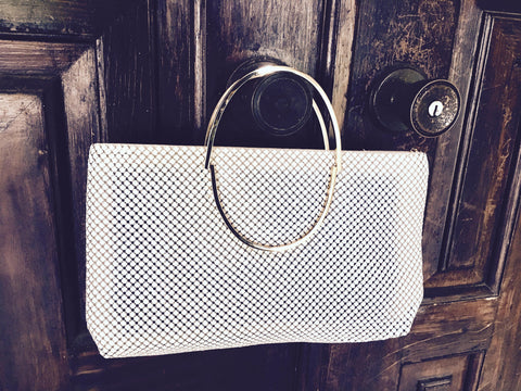 White Mesh Metal Purse Handbag Retro Bag Golden Framed Handle Vintage Accessory