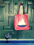 Liz Claiborne Red Tote Bag Nautical Handbag Vintage Accessories