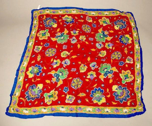 Vintage Floral Scarf Red Blue Yellow made in Italy