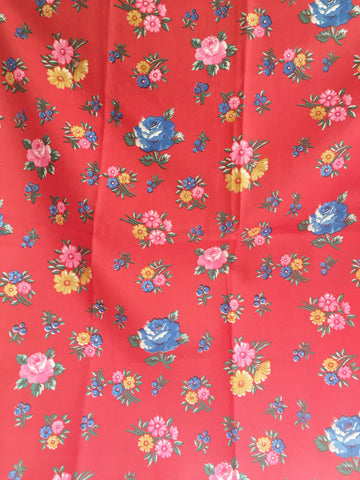 Vintage Floral Scarf Red Mini Flowers Hair Accessories