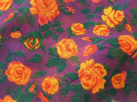 Vintage Floral Scarf Purple Orange Red Roses Sash Accessory