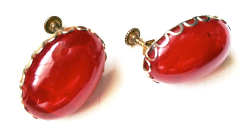 Miriam Haskell Vintage Jewelry Ruby Red Screw Back Clip on Earrings
