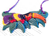 Figural Vintage Jewelry Toucan Bird Glazed Clay Pendant Necklace