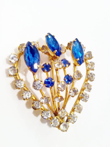 Blue White Rhinestones Brooch Golden Pin Vintage Jewelry