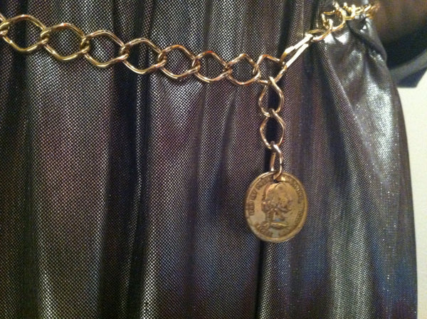 2929f37e8b69 Golden Coin Charm Chain Link Metal Belt Vintage Accessories
