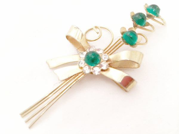 Floral Spray Brooch Large Golden Green Pin Vintage Jewelry