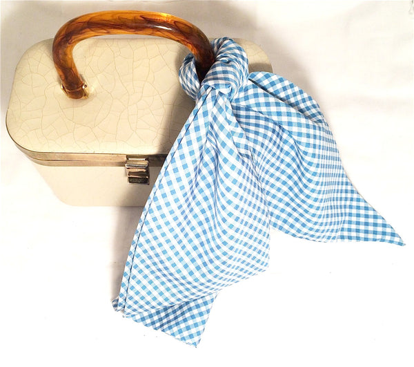 Gingham Long Scarf Blue White Plaid Checkers Vintage Accessories