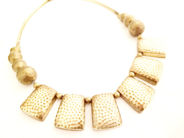 Ethnic Necklace Hammered Brass Modernist Bib Vintage Jewelry