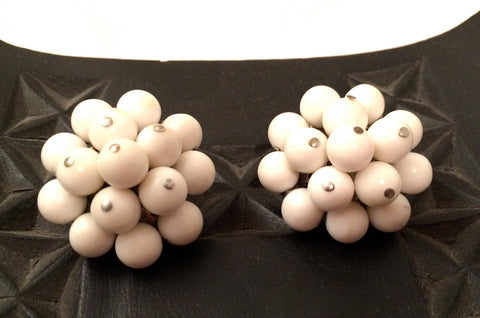 White Cluster Clip on Earrings Plastic Vintage Jewelry made in Japan