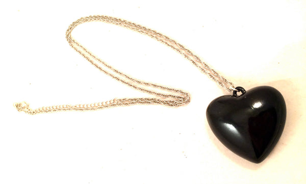 Heart Dimensional Pendant Black Plastic Whimsical Silver Chain Adjustable Link Necklace Authentic True Vintage Jewelry Bold 80s Fun Lovers