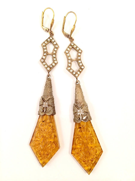 Art Deco Earrings Yellow Glass Vintage Jewelry