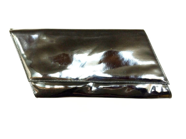 Black Patent Leather Clutch Wristlet Bag Modernist Vintage Accessory