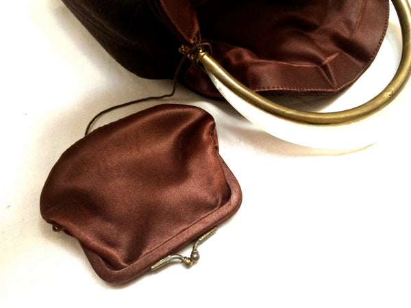 Winter Chocolat Brown Handbag Bucket Evening Bag True Vintage Antique Coin Purse Statement Accessory Shine Bold Trend talkingfashion VGC