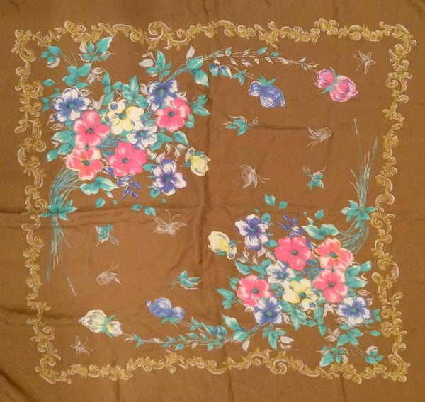 Floral Vintage Scarf Accessory Brown Pink Yellow Blue