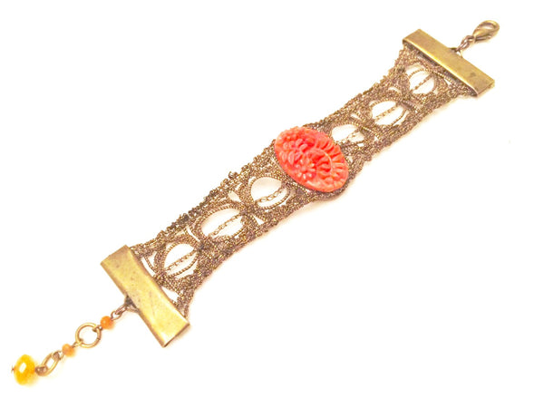 Red Carved Floral Bead Antique Golden Metal Bracelet Vintage Jewelry