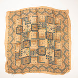 Indian Garden Architectural Colors Vintage Scarf made in India