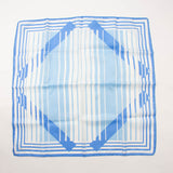 Retro White Blue Stripes Scarf Vintage Accessories Made in Italy