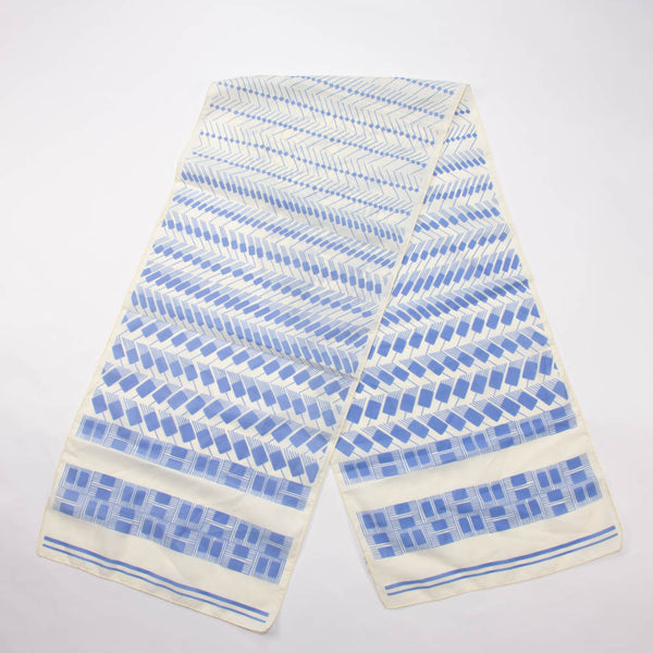Retro Blue White Long Scarf Vintage Accessories Made in Italy