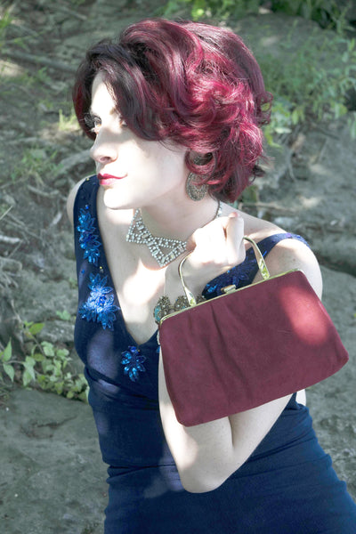 Ande Clutch Red Wine Suede Bag Vintage Accessories
