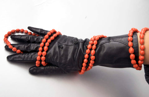 Long Black Leather Gloves Vintage Accessory