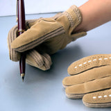 Tan Vinyl Sueded Gloves Vintage Accessory