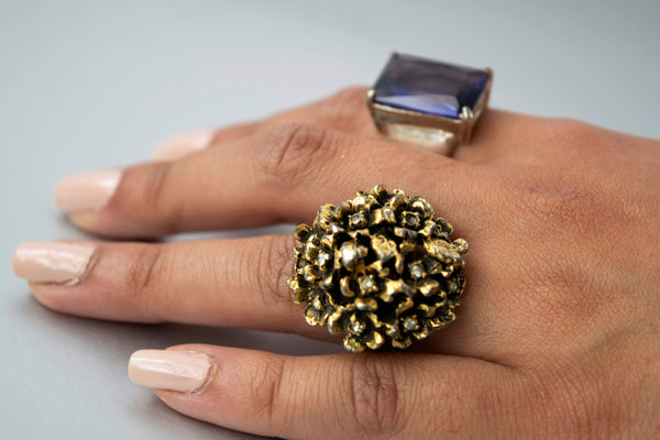 Flower Bouquet Cocktail Ring Rhinestones Brutalist Vintage Jewelry